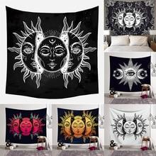 Sol Dios Luna Tapiz de pared Mandala Tapiz de pared alfombra psicodélica tapices de pared Hippie Ouija brujería tapez