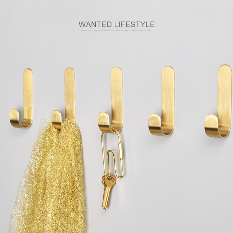 Metal Gold Hooks Sticky Wall Door Hanger Household Adhesive Stainless Steel Towel Coat Family Robe Hangers With Adhesive Glue