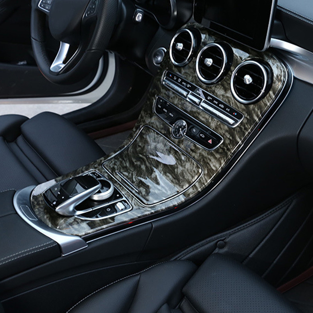 Marble Pattern Style Center Console Panel Decoration ABS 2pcs For Mercedes Benz C Class W205 GLC X253 2015 18 Interior Decals