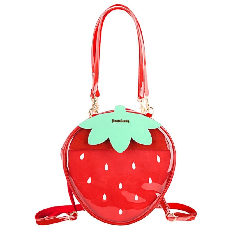 Ita Bag Backpack Strawberry Clear Transparent Lolita Shoulder Bags Candy Color Lovely 3 Ways Bag Sweet Girl Gift Itabag