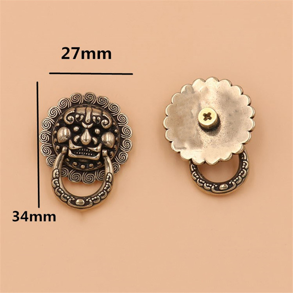 2Pcs Brass Lion Mythical Creatures Design Conchos Screwback Rivets Leather Craft Bag Wallet Chain Ring Connector Decor