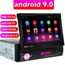 Android 9.0 1din dört çekirdekli araç GPS navigasyon oynatıcı 7 evrensel araç radyo WiFi Bluetooth MP5 1 DIN multimedya oynatıcı hiçbir DVD