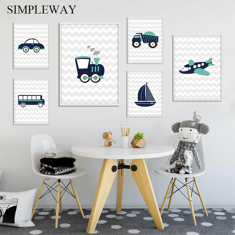 Traffic Tool Car Airplane Poster Nursery Cartoon Art Canvas Print Painting Simple Wall Picture Child Boys Bedroom Decoration image