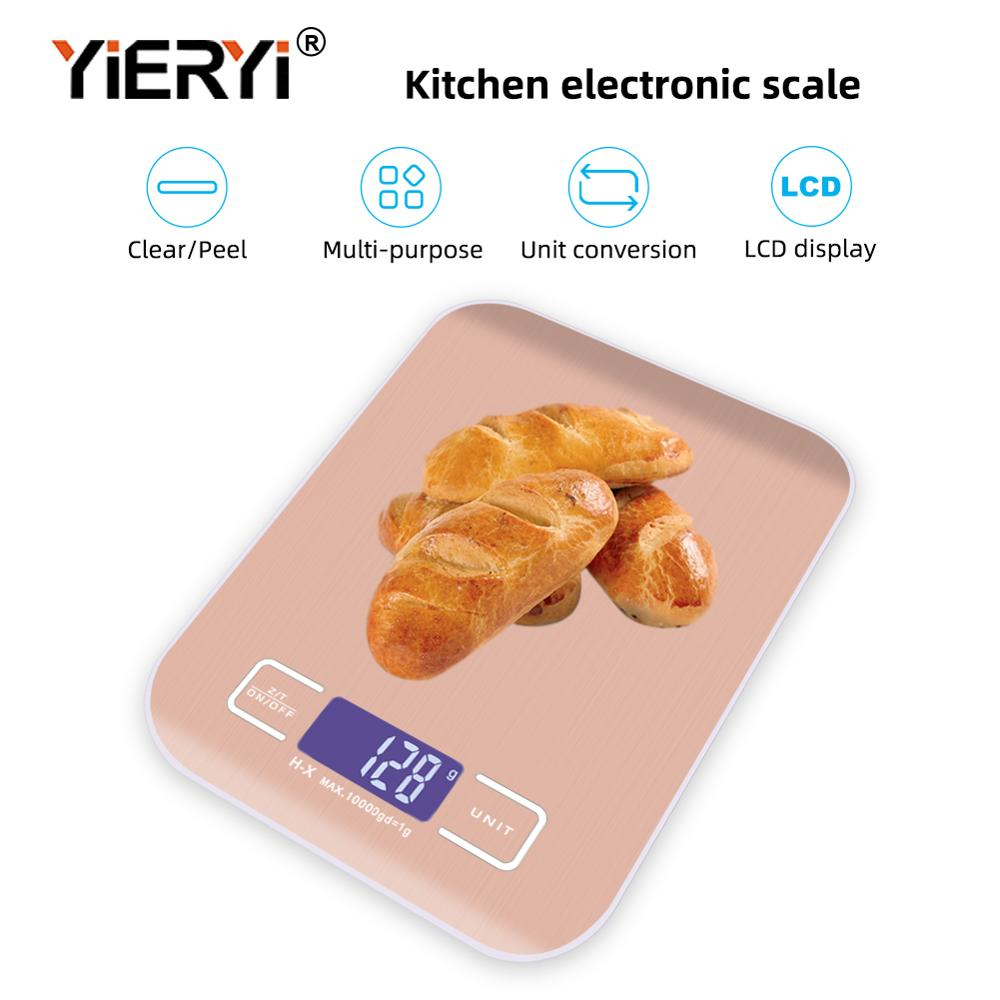 Yieryi 10kg/1g de aço inoxidável escalas de cozinha digital cozinhar ferramentas medida eletrônico peso conduziu a escala de alimentos com ouro rosa