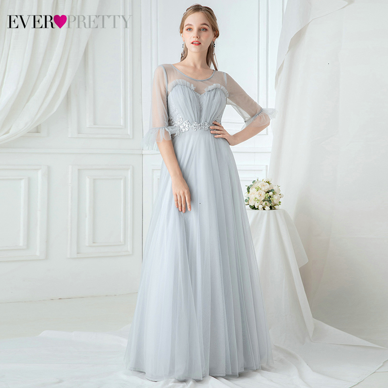 Elegant Prom Dresses Ever Pretty Ruffles A-Line O-Neck Ruched Half Sleeve Appliques Grey Formal Party Gowns Vestidos De Gala
