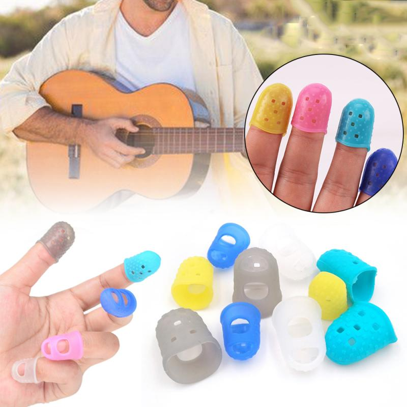 4pcs Guitar String Finger Guard Fingertip Silicone Non-slip Anti-finger Pain Finger Guard Protection Press Accessories