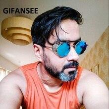 GIFANSEE Retro Steampunk Sunglasses Round Designer Steam Pun