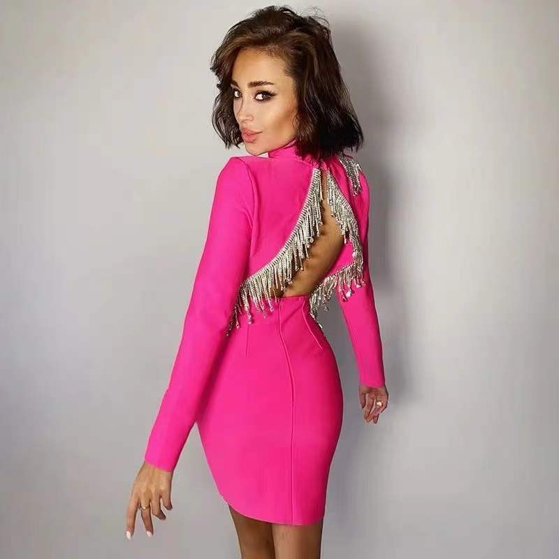 Women New Sexy Bandage Dress Autumn Whiter Sexy Bodycon Dress Beading Party Club Celebrity Elegant Long Sleeve Backless Clothes|Dresses| - AliExpress