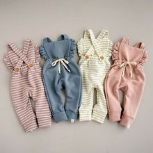 New Born Baby Clothes Backless Striped Ruffle Romper Overalls Jumpsuit Clothes Baby Girl Clothes Baby Girl Romper kid clothes недорого