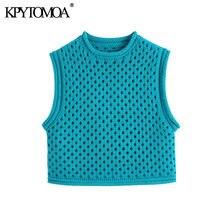 KPYTOMOA kobiety 2021 moda drążą przycięte kamizelka z dzianiny sweter w stylu Vintage O Neck bez rękawów kobiet kamizelka eleganckie koszule