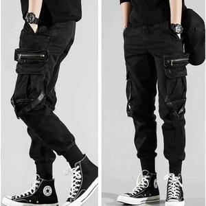 Image 5 - Erkek yan cepler Harem pantolon 2020 sonbahar Hip Hop rahat şerit tasarım erkek Joggers pantolon moda Streetwear pantolon siyah