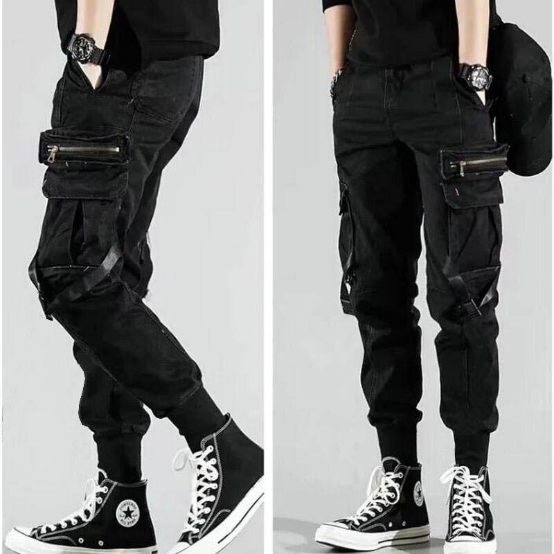 Men's Side Pockets Harem Pants 2019 Autumn Hip Hop Casual Ribbons Design Male Joggers Trousers Fashion Streetwear Pant Black