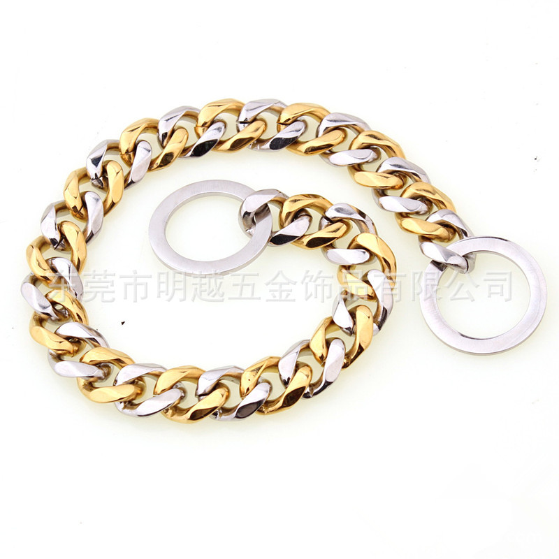 15 Size Dog Supplies Pet Chain Stainless Steel Gold Plated Neck Ring P Pendant Dog Item Pendant Training Dog Only
