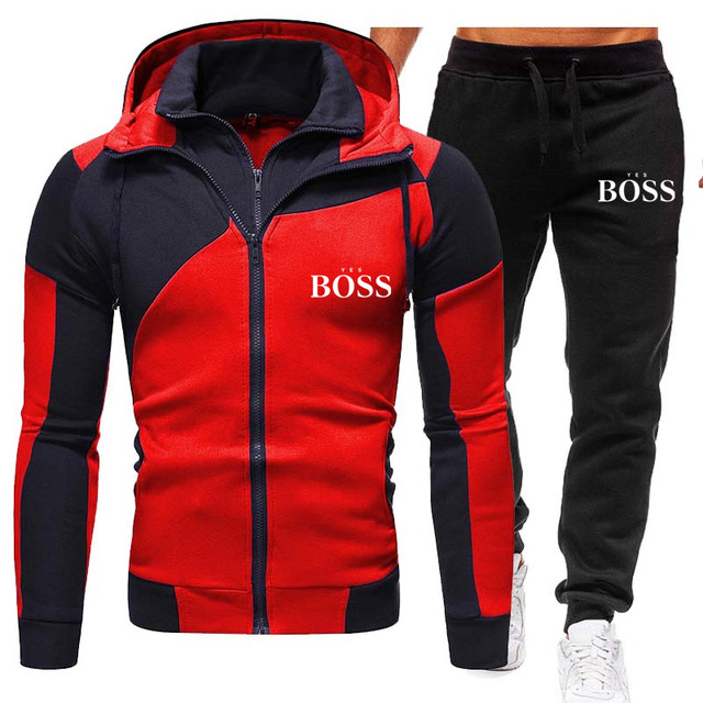 Winter Men's Tracksuit 2 Pieces Set Hoodies+Pants Sport Suits for Men Sweatshirt Zipper Hoodies Men's Clothing Sets Sportswear 6