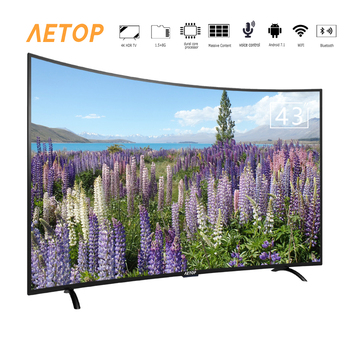 Free shipping- AETOP 43 inch television 4k hd android tv led flat curved screen tv with DVB-S2/T2