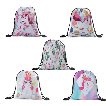 Child Cute Cartoon Printed Printing Drawstring Backpack Mini  Women  Travel Drawstring Bag Small School Bag  Drawstring Rucksack