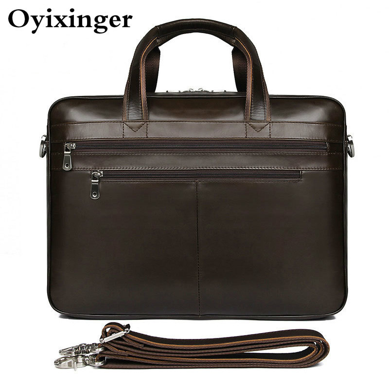 Large Capacity Men Business Genuine Leather Briefcase For 17.3