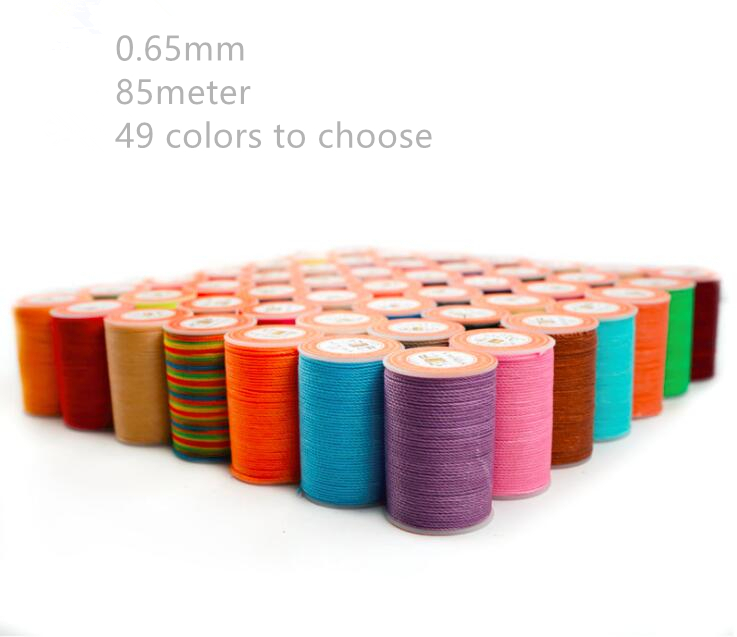 Good quality 0.65mm leather round waxed thread polyester round wax thread 85m long 49 colors to choose-in Sewing Threads from Home & Garden    1
