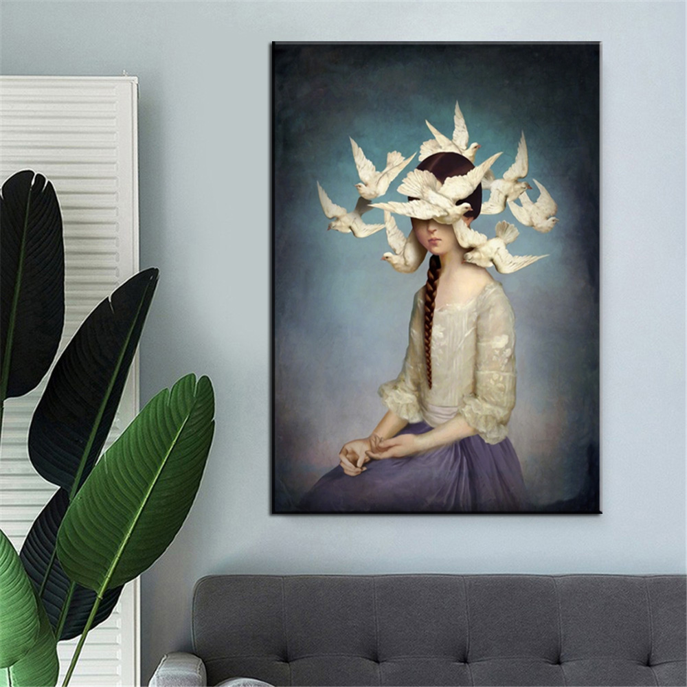 Skull Head Dark Candlestick Canvas Painting Wall Art Picture Artwork Home Decor