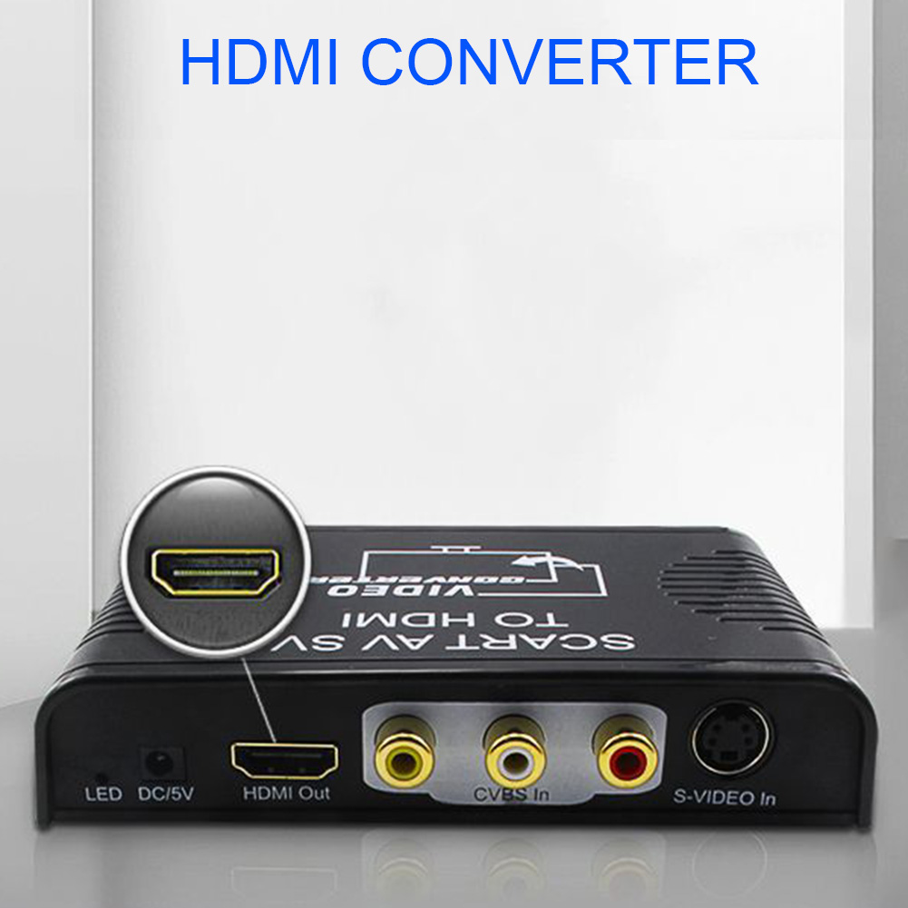Video Converter Full HD 1080P SCART To HDMI 3 In 1 Monitor Digital Projector Mini Durable Audio Adapter Led High Definition HDTV