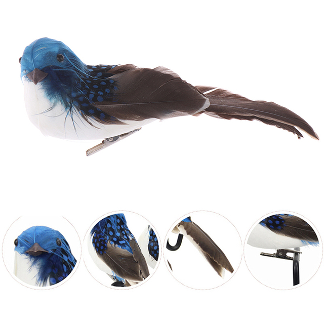 2pcs / 4pcs 3D Fake Craft Birds Artificial Foam Feathers Birds Birthday Party Decorations Home Garden Wedding Decoration 6