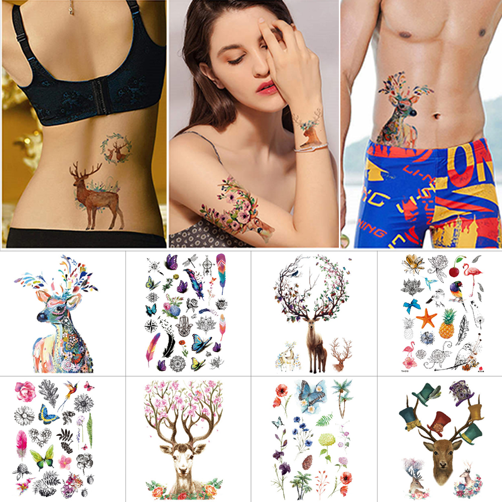 Waterproof Temporary Tattoo Stickers Milu Deer Personalized For Arms Leg Body Art Tattoo Flower Flamingo Owl Unicorn Small Tatto