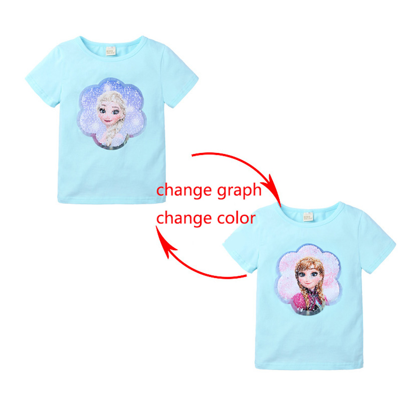 Summer Girls T-Shirts Clothing 1pcs Magic Sequin Change Graph Elsa And Anna Cotton Children Casual Fashion T Shirt Kids Tops Tee