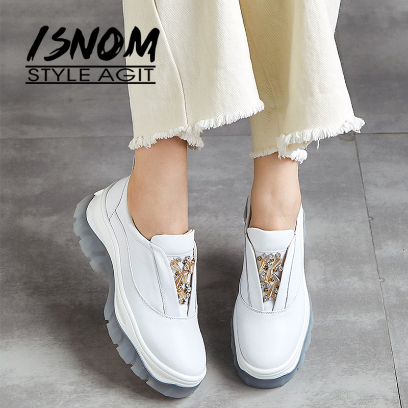 ISNOM Cow Leather Women Platform Flats Round Toe Slip On Dorky Dad Female Shoes Fashion Clunky Sneakers Shoes