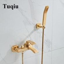 Tuqiu набор для ванной, набор для душа, Настенный матовый золотой кран для ванной, кран для холодной и горячей ванны и душа, латунный смеситель