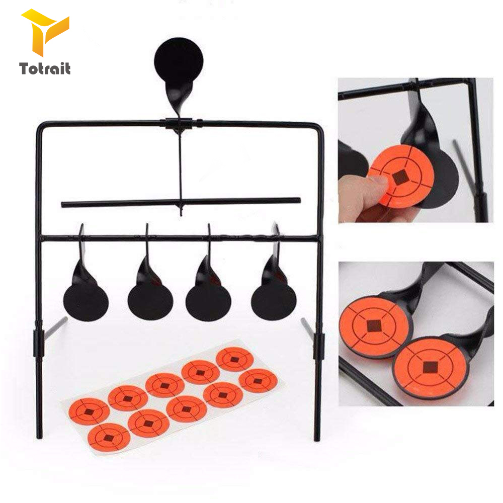 TOtrait Target For Airgun Lead Pellet Rifle Airsoft 5 Targets Automatic Reset Rotating Shooting Target
