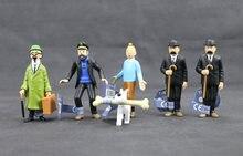 Figurines Les Aventures de Tintin, Dupont, Professeur Haddock, hergé, Les Aventures de Tintin et Milou, 8cm, 6 pièces
