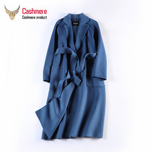 2019 New autumn winter new water ripple double-faced cashmere coat ladies thickening plus long lace woolen Plus Size