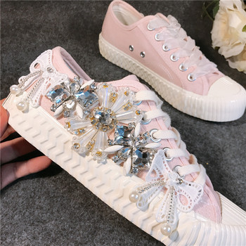 JELLYFOND crystal canvas shoes in women shoes cute pink color low top girls shoes Classic Fashion Sneakers zapatos de mujer