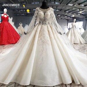 Image 1 - HTL1004 בציר חתונה שמלה עם גלימה אשליה o צוואר שרוול צעיף תחרה עד בחזרה חרוזים הכלה שמלות כלה יוקרה חלוק mariee