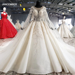 Image 1 - HTL1004 vintage wedding dress with cape illusion o neck sleeve shawl lace up back beads bride wedding gowns luxury robe mariee