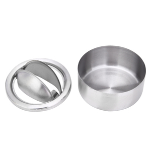 Image 2 - 1pc Cigarette Lidded Ashtray Stainless Steel Silver Windproof Ashtray with Lid Round Shape Smoking Ash Tray