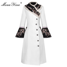 MoaaYina Fashion Designer Woolen coat Winter Women Rabbit fur collar Long sleeve Embroidery Elegant Keep warm Overcoat