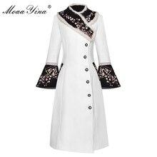 MoaaYina אופנה מעצב צמר מעיל חורף נשים ארנב פרווה צווארון ארוך שרוול רקמה אלגנטית להתחמם מעיל