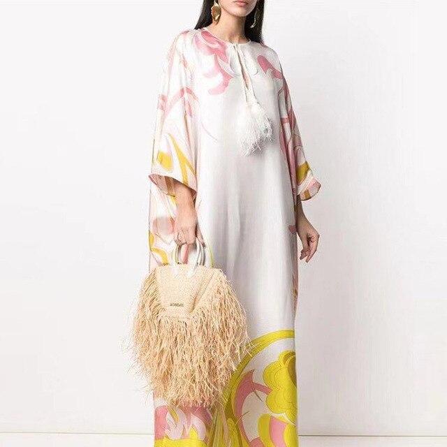 Retro Floral Print Elegant Maxi Dress Women 2021 Summer V-Neck Loose Long Boho Dresses Casual Female Split Dress Ladies Vestidos 4