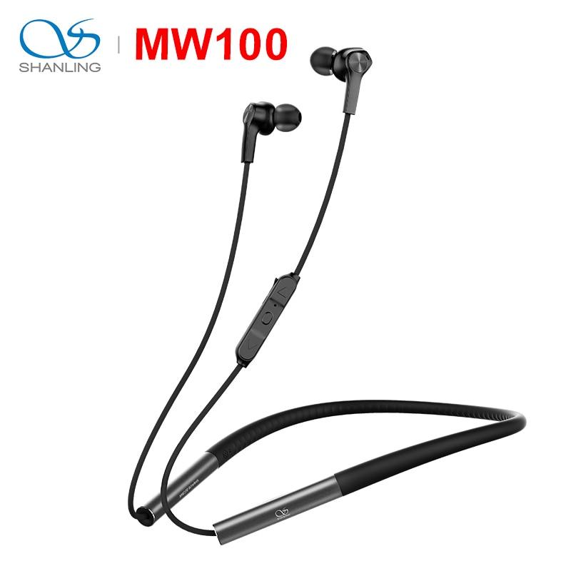 SHANLING MW100 HIFI Audio Graphene Driver Bluetooth Wireless Earphone Liquid Silicon Neckband support Apt X Fast