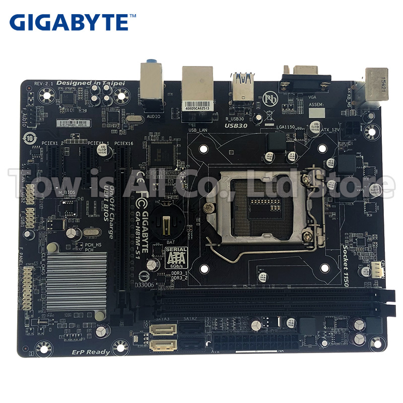 Gigabyte GA-H81M-S1 Original Motherboard H81M-S1 LGA 1150 DDR3 16GB USB2.0 USB3.0 H81 Used Desktop Motherboard Boards