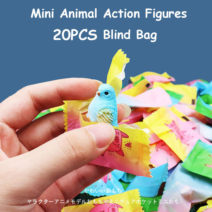 20 PCS Mini Animal Action Figures Blind Bag Blind Box Collection Model Doll For Boys Birthdays Gifts