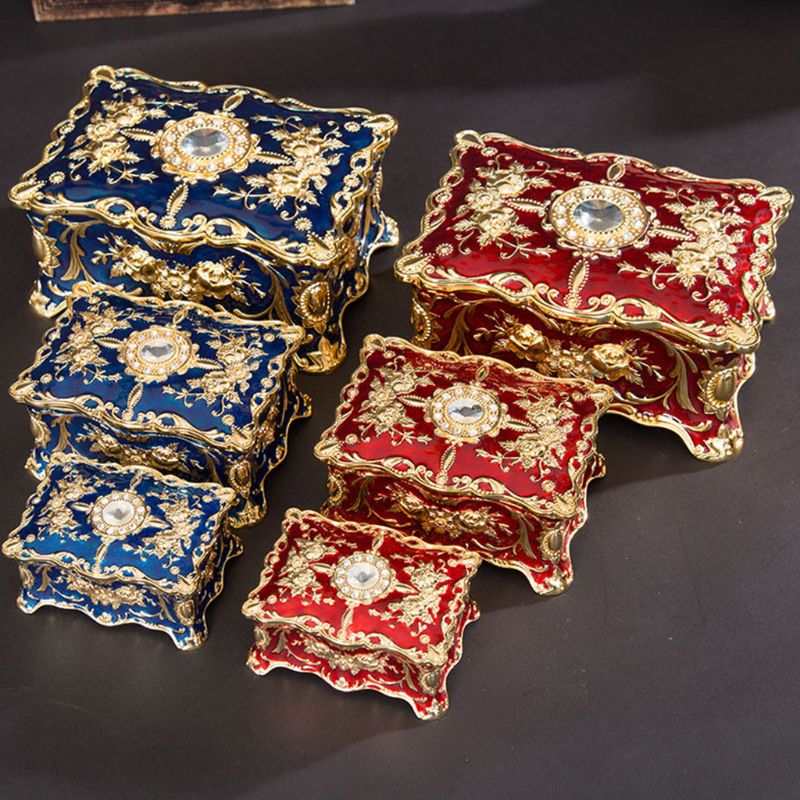 Vintage Rectangle Trinket Box Jewelry Box Ornate Antique Engraved Jewerly Storage Box