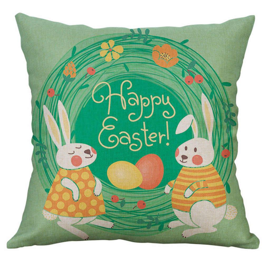 Happy Easter Egg Rabbit Flower Pillow Case Cushion Cover Sofa Bed Car Cafe Decor Easter Egg Rabbit Flower Pillow Case Cushion Co
