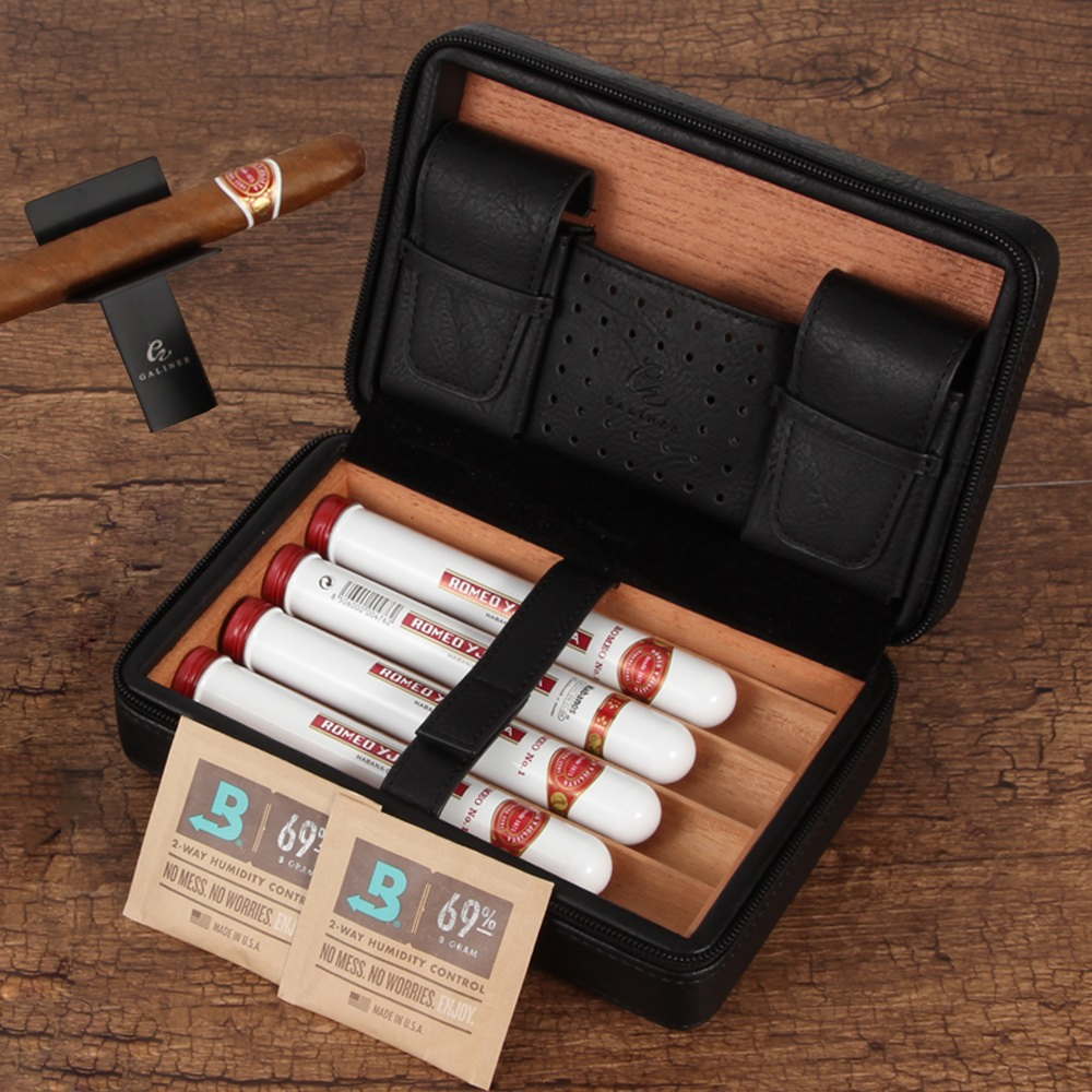 GALINER Travel Humidor Leather Cigar Case W/ <font><b>Boveda</b></font> Humidity Pack Humidifier Cedar Wood 4 Tube Cigar Humidor Box image