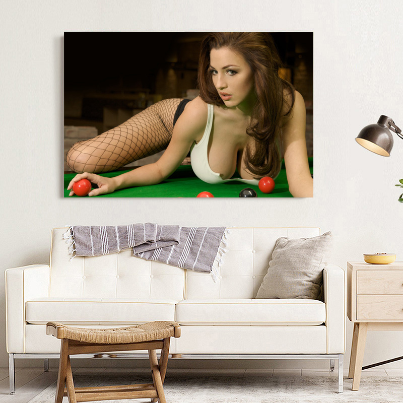 Decorative paintings Hot sexy girl billiard Sport  Wall Art Posters Canvas Prints Artwork For Living Room Decor 2