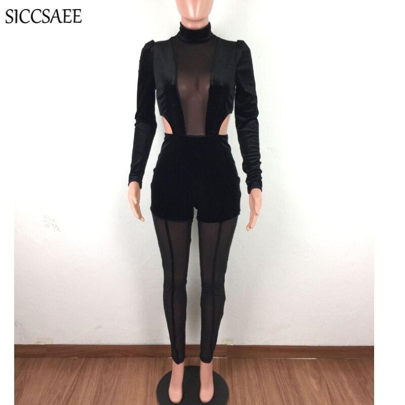 See Through Mesh Patchwork Pleuche Cut Out Velour Bandage Jumpsuits For Women Turtleneck Puff Sleeve Bodycon Bodysuit Back Zip