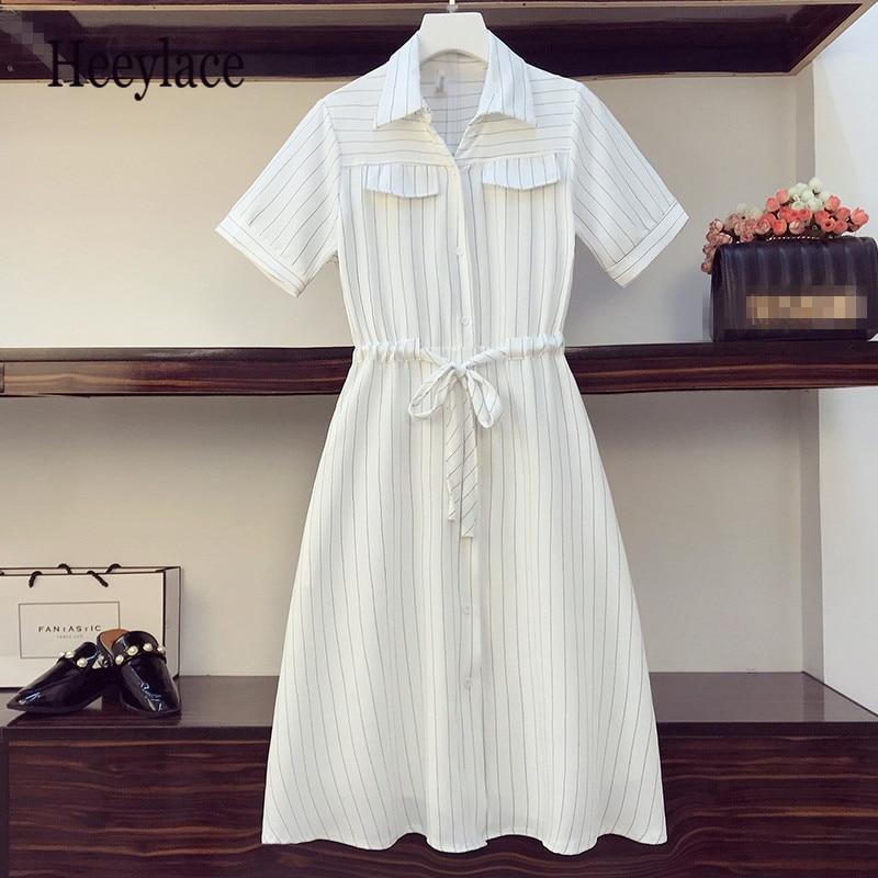 Plus size feminino verde listrado vestidos longos verão 2020 moda manga curta arco laço único-breasted camisa vestidos