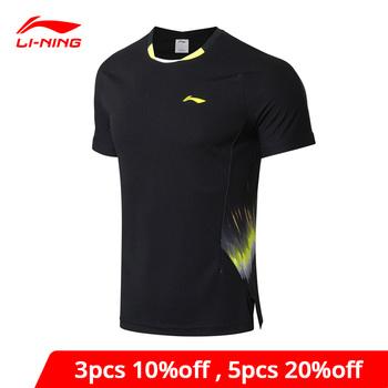 Koszulka li-ning dla mężczyzn Badminton drużyna narodowa Sponsor fani wersja ATDRY oddychająca koszulka z podszewką Li Ning AAYN261 MTS2892 tanie i dobre opinie LINING Pasuje prawda na wymiar weź swój normalny rozmiar Szybkie suche