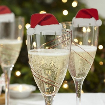 2021New Christmas Decorations Hats 10pcs/lot Champagne Glass Decor Party Home Ornament New Year 2021 Noel Navidad Natal